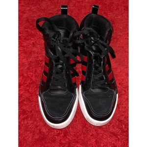 Adidas men's high tops in red and black